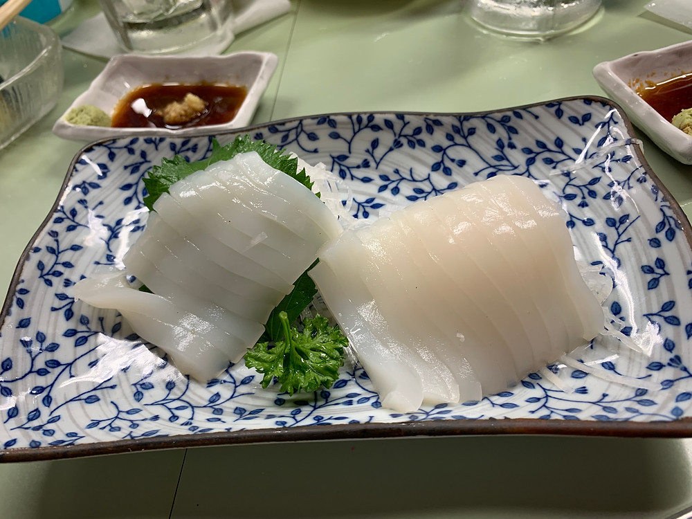 Sashimi of squid