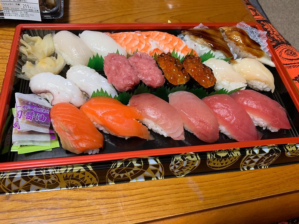 Sushi sold at supermarket