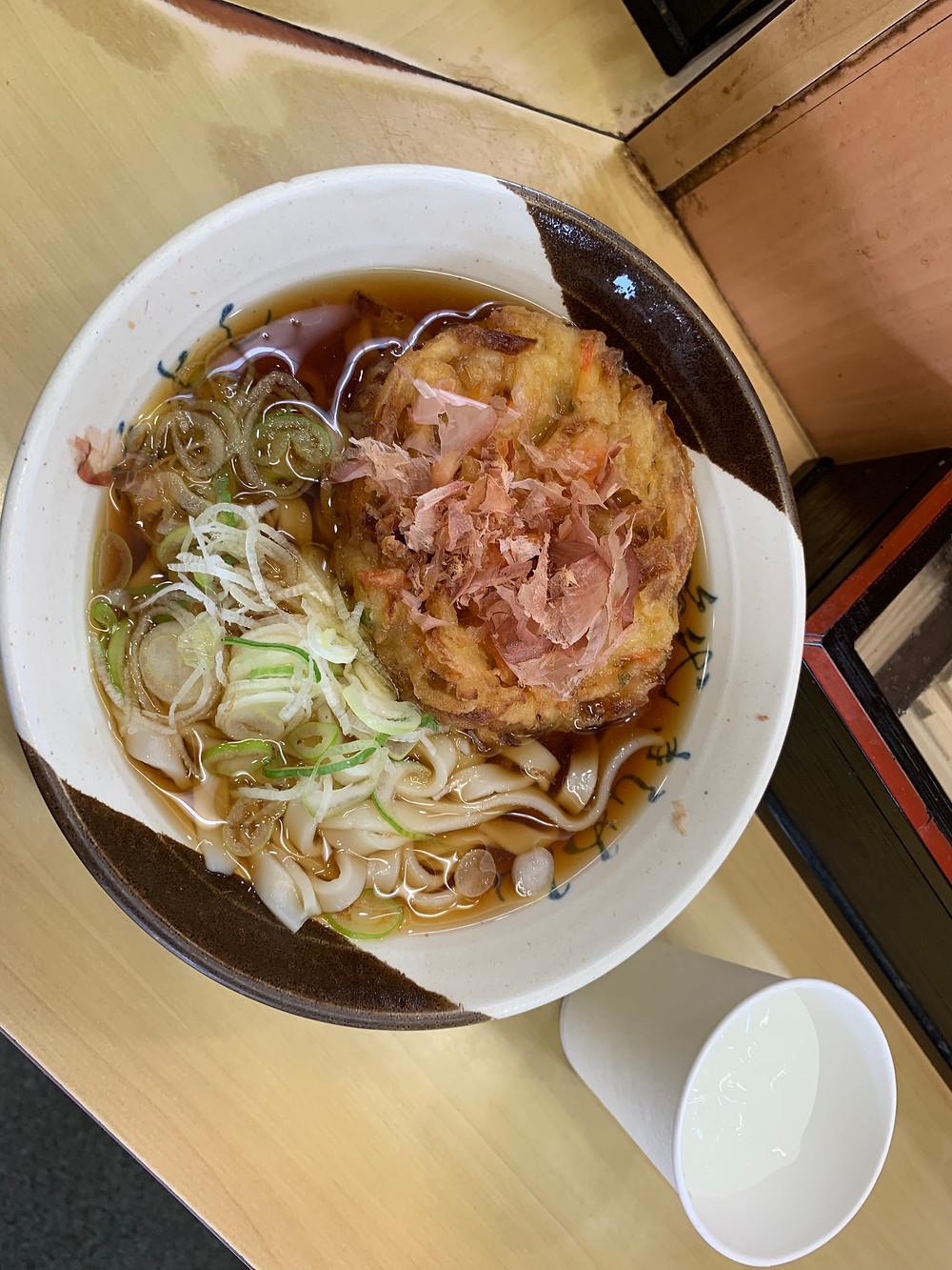 Kishimen noodle with kakiage tempura
