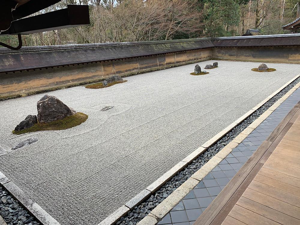Kare-sansui zen garden of Ryoanji temple