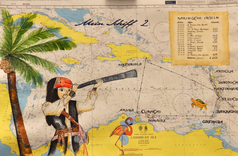 Seekarte unserer Kreuzfahrt