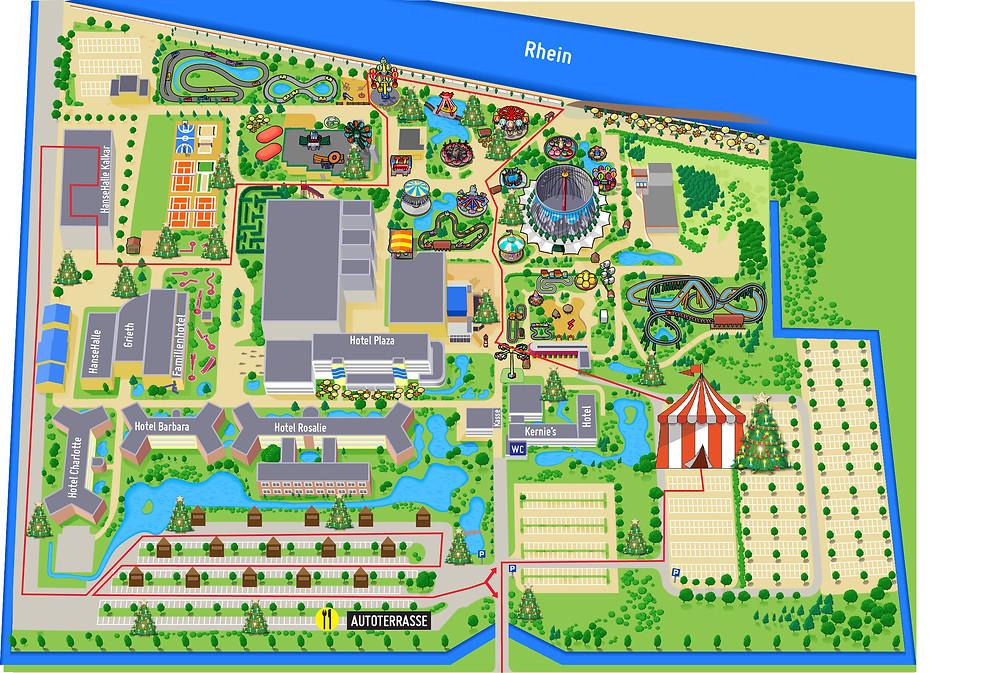 Auf der Karte wird die Route des Drive-in Weihnachtsmarkt durch das Wunderland Kalkar angezeigt