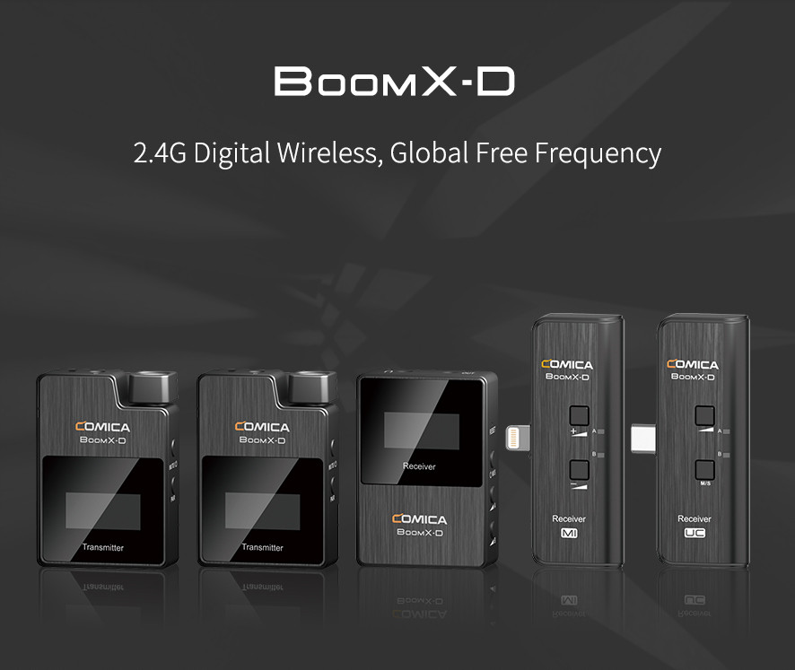 The Comica wireless microphone system Boom X-D with different vatiants