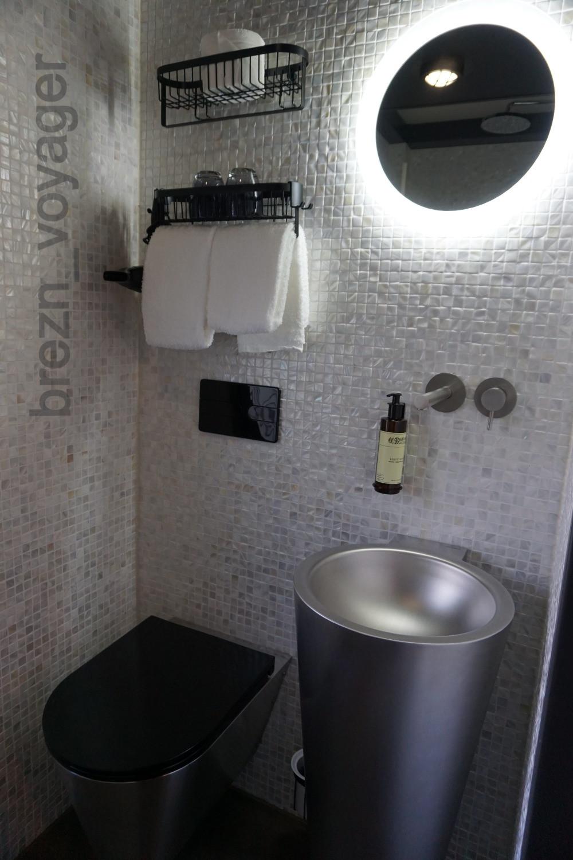 Hier die Toilette und das Waschbecken