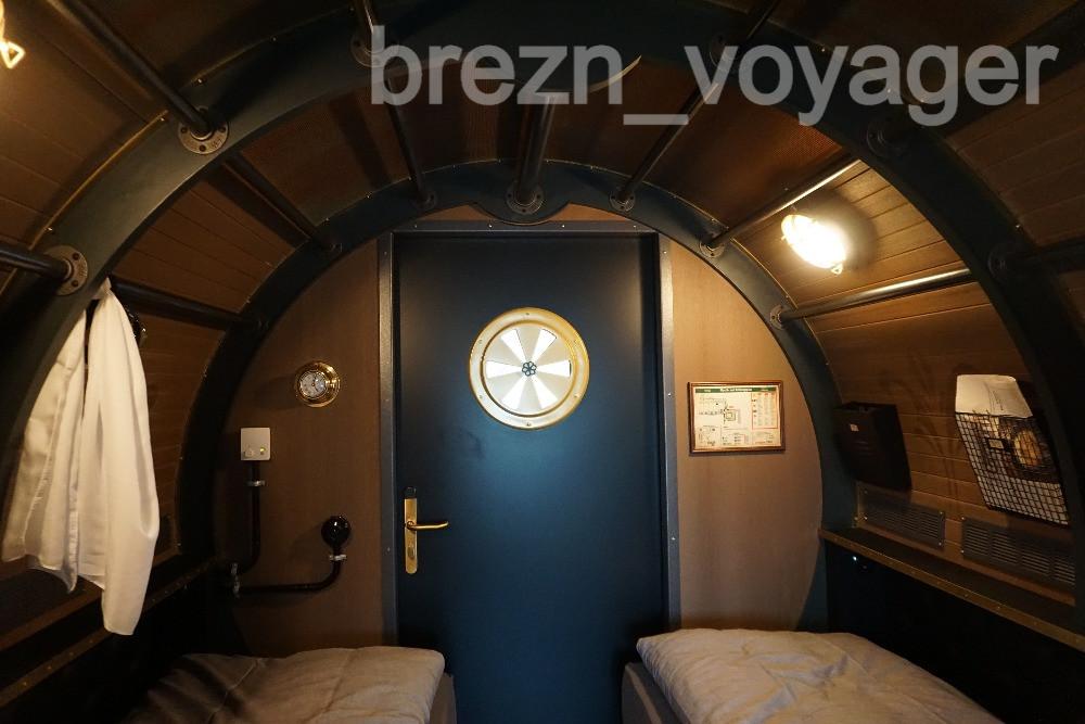 Jedes Kabine verfügt über zwei Einzelbetten.