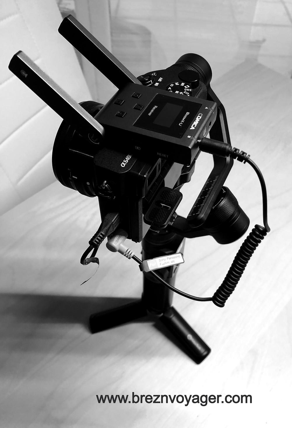 Kamera Sony A6400, Mikrofon Comica Boom X-U, Gimba FeiyuTech