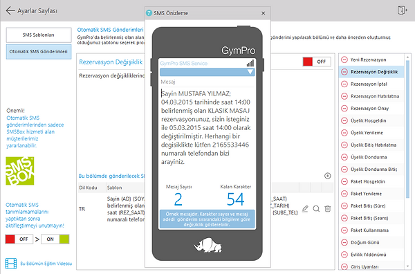 GymPro Toplu SMS ayarları