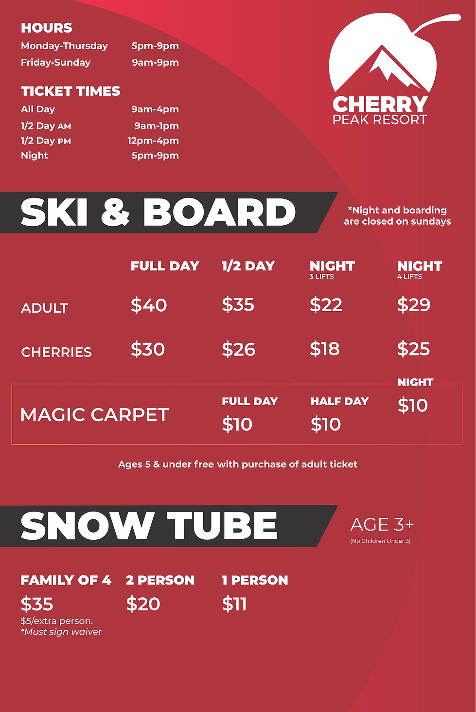 Pages from Ski,Board, and snow prices ad