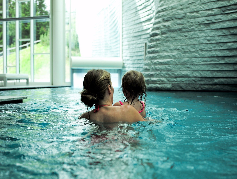 Indoor outdoor pool at the Tschuggen Grand
