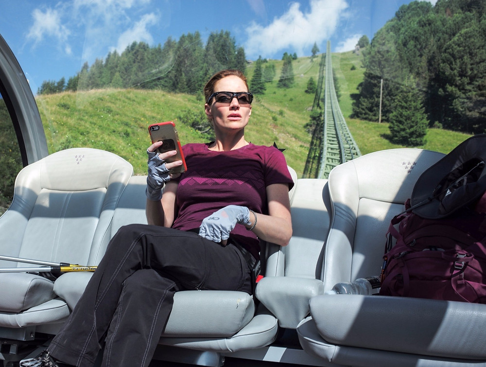 Cary Deuber on the Tschuggen Bahn that takes you up to the mountain