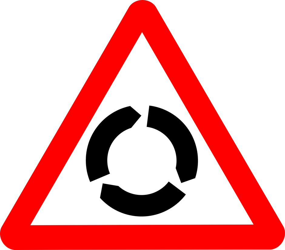 Which lane to use for road ahead at a roundabout?