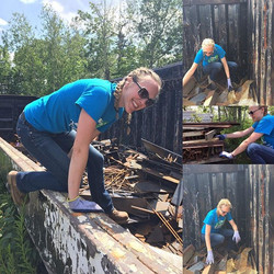 Scavenging for metal for our next project on the Preserve! #reuse