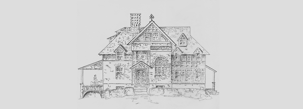 Frank Furness house drawing placed on long background to cover width of book
