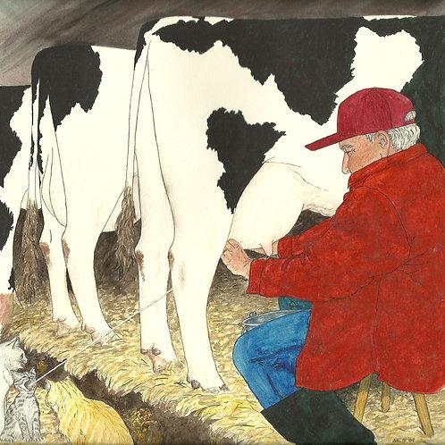 Grandpa Milking