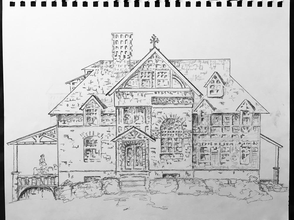 pencil sketch of Frank Furness designed house