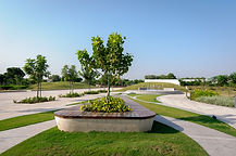Arvind Uplands is a premium township coming up on the outskirts of Ahmedabad. Earthscapes is currently developing the entrance area landscape to create a landmark entry to the project site. The large plot has a lake, community gardens, and is envisaged to be peaceful and contemporary, with large pedestrian areas devoted to recreational, sports and community amenities, having low fencing to give an inclusive feeling, and a homely atmosphere.