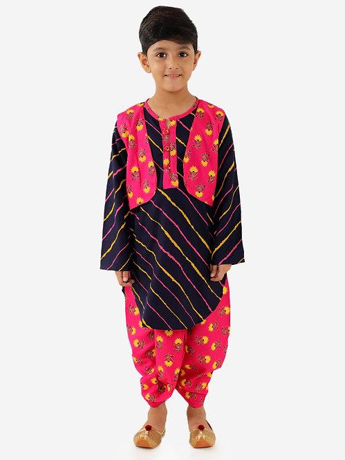 Block Print Front Jacket With Lehariya Kurta Dhoti-Red