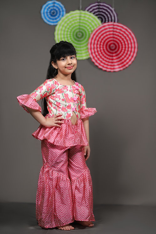 Flower Printed Peplum Top with  Pink Sharara