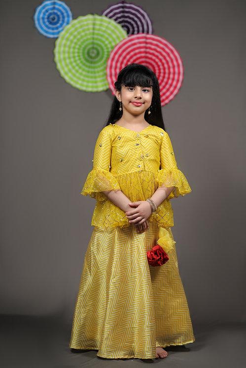 Yellow Peplum Top with Lehenga