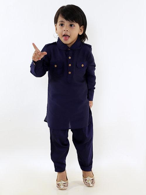 Boys Pathani Kurt Pyjama-Navy Blue
