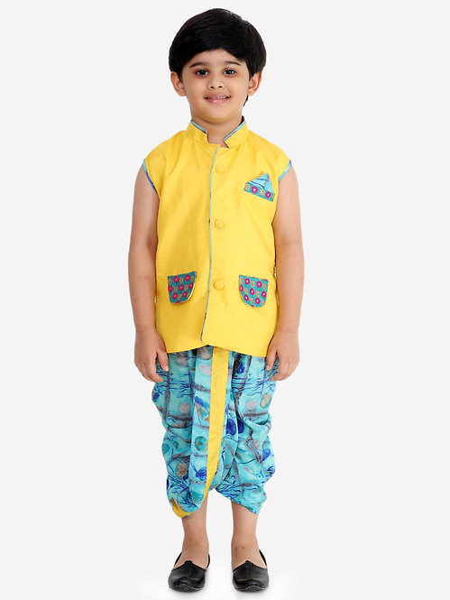 Festive Jacket With Dhoti-Yellow