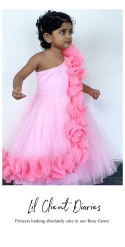 Shades of Pink Frill Off Shoulder Gown