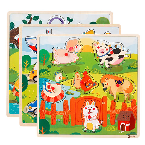 Onshine - Wooden Sound Puzzle - Farm Animals