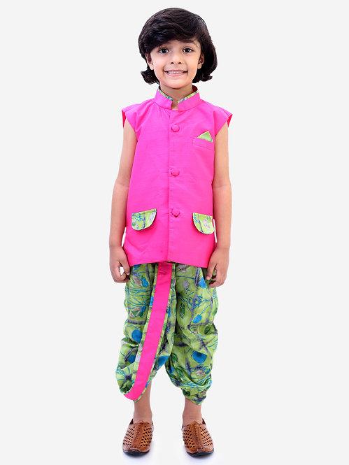 Festive Jacket With Dhoti-Fuschia Pink