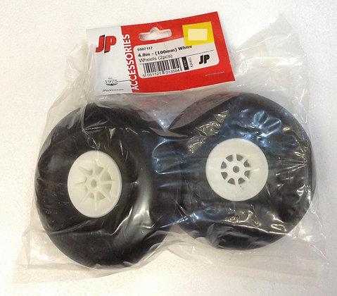 4.0''/100mm white wheels round x2