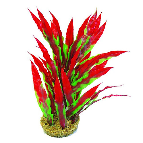 """Betta 10"""" Green & Red Plastic Plant with Sand Base"""