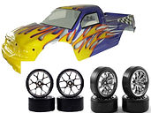 MODEL CAR BODY SHELLS, WHEELS AND TYRES