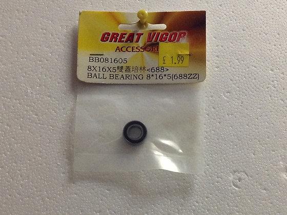 BB081605 BALL BEARING 8X16X5 (688ZZ)