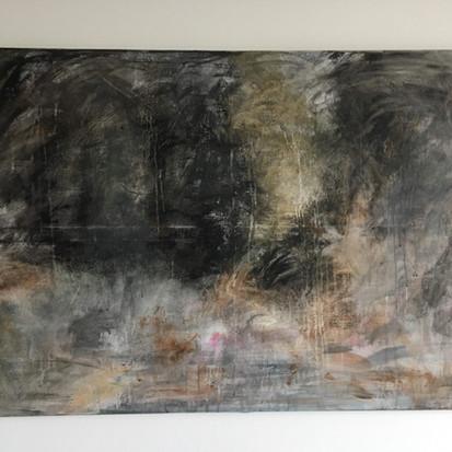 Schilderij 'The woods' geschilderd door juf Sas
