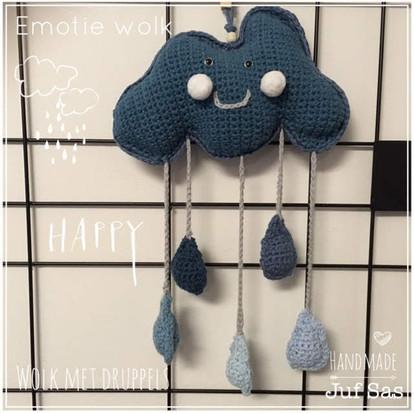 Emotie Wolk boos en blij met druppels handmade by juf Sas met gratis patroon