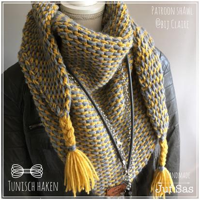 Tunisch gehaakte sjaal patroon van By Claire handmade by juf Sas