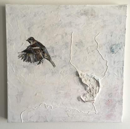 Schilderij 'Free bird' geschilderd door juf Sas