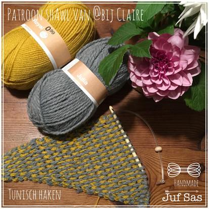 Tunisch haken, Work in Progress sjaal van By Claire handmade by juf Sas