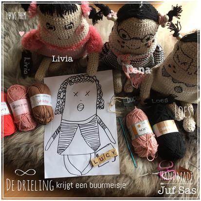 Work in Progress, de drieling krijgt een buurmeisje Lucy handmade by juf Sas