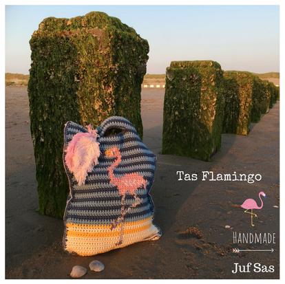 Tas Flamingo handmade by juf Sas met gratis patroon