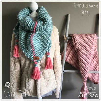 Tunisch gehaakte sjaal handmade by juf Sas
