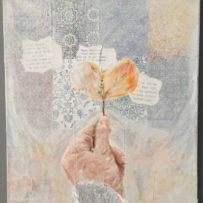 Schilderij 'Open' geschilderd door juf Sas