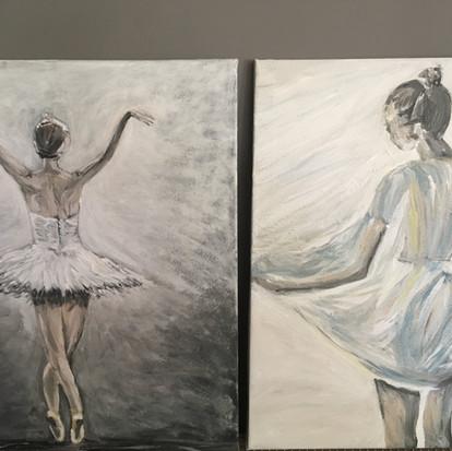 Schilderijen Proud en Ballerina van juf Sas