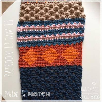 Shawl Mix & Match handmade by juf Sas haakpatronen 13 t/m 16
