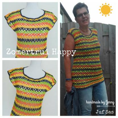Zomertrui Happy handmade by Jenny en Lilian met gratis patroon van juf Sas