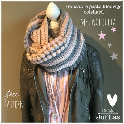 Colshawl Betsy handmade by juf Sas met gratis haakpatroon