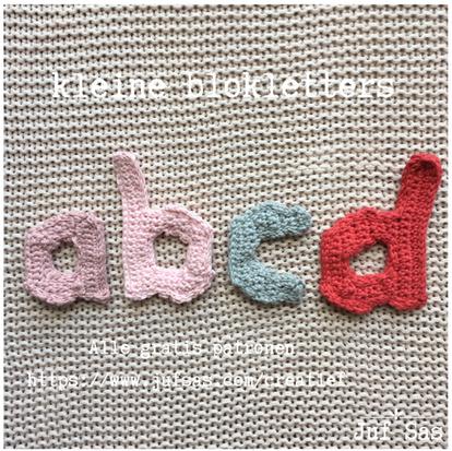 Blokletters a, b, c en d handmade by juf Sas met gratis patroon