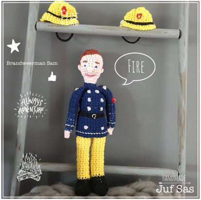 Brandweerman Sam handmade byjuf Sas met gratis patroon