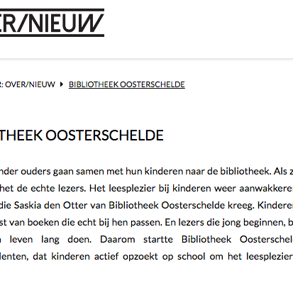 Team leesconsulenten van Bibliotheek Oosterschelde genomineerd voor RESET award