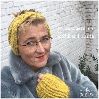 Polswarmers en hoofdband Earth handmade by juf Sas met gratis patroon
