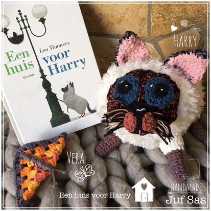 Harry (poes uit het boek een huis voor Harry)  handmade by juf Sas met gratis patroon